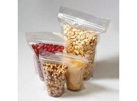 Transperent stand up pouch with zipper