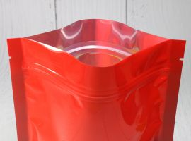 Red Glossy Standy Pouches 5X8 Inches with Ziplock with oval window