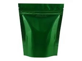 Green Glossy Standy Pouches 5X8 Inches with Zipper