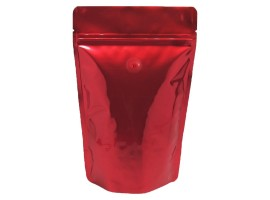 Red Glossy Standy Pouches 6.5X9 Inches with Zipper with oval window